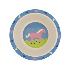 Little Blue House Horse Play Show Horse Kids Bamboo Bowl