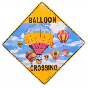 Hot Air Balloon Crossing Road Sign