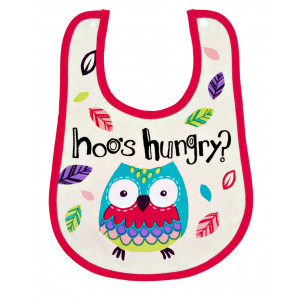 Little Blue House Party Owls Coated Infant Bib