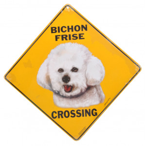 Bichon Frise Dog Crossing Road Sign