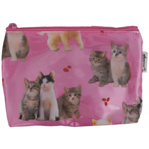Kittens And Ladybirds Cats on Pink Cosmetic Make Up Zip Bag