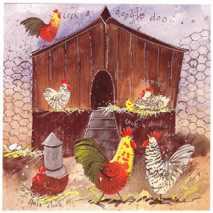 Hen House Chickens Farm Animal Greeting Card