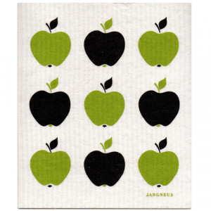 Apples Black and Green Design Eco Friendly Kitchen Dishcloth