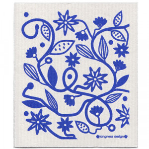 Flowers and Leaves Blue Design Eco Friendly Kitchen Dishcloth