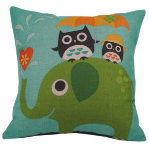 Elephant And Cute Owls Design Square Cushion