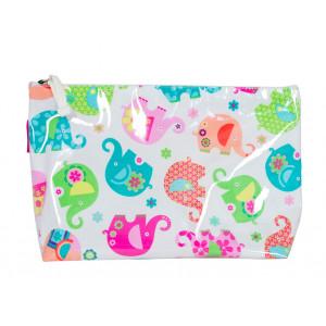 Cute Elephants Design Large Cosmetic Make Up Zip Bag