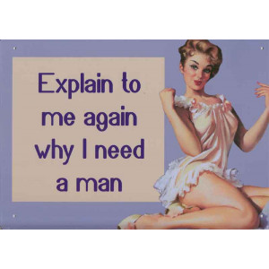 Explain To Me Again Why I Need A Man Retro Steel Sign