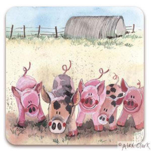 Five Little Pigs Cork Backed Drink Coaster By Alex Clark