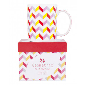 Ashdene Fine Bone China Coffee or Tea Mug Carrington Zig Zag Pattern