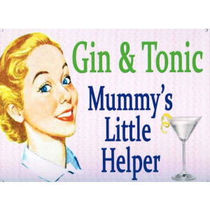 Gin & Tonic Mummy's Little Helper Retro Tin Sign
