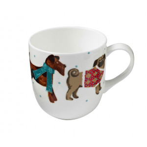 Dog Breeds Pug Scottie Design Bone China Tea Coffee Mug Cup