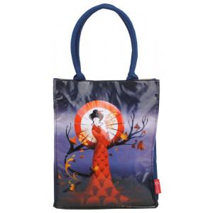 Large PVC Shopping Tote Bag Japanese Geisha Girl With Umbrella