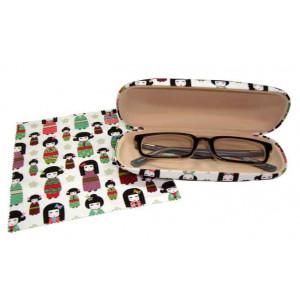Kimono Kokeshi Doll Design Glasses Case & Eyeglasses Cleaning Cloth