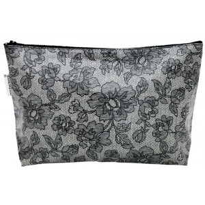 Lace Design Large Cosmetic Make Up Zip Bag