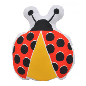 Kids Childrens Ladybird Soft Stuffed Cushion Red and Yellow