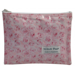 Medium Flat Make Up Cosmetic Purse Pretty Pink Roses