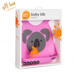 Make My Day Grey Koala on Pink Design Silicone Baby Bib