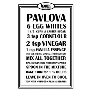 Australian Pavlova Dessert Recipe 100% Cotton Kitchen Tea Towel