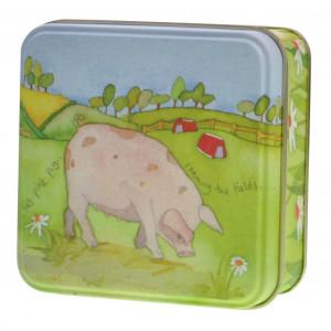 Pig Farm Animal Emma Ball Small Square Storage Tin