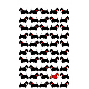 Scottie Dogs in a Row 100% Cotton Kitchen Tea Towel