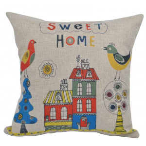 Sweet Home Birds and Trees Design Square Cushion