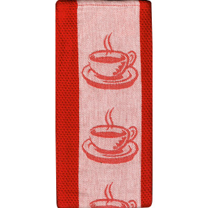 Coffee Cups Cafe Style Kitchen Tea Towel 100% Cotton Jacquard Red