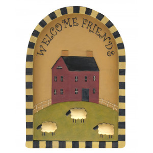 Welcome Friends Primitive House and Sheep Resin Plaque