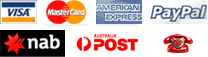 Visa | Mastercard | American Express | Paypal | NAB | Australia Post