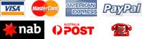 Visa | Mastercard | American Express | Paypal | NAB | Australia Post