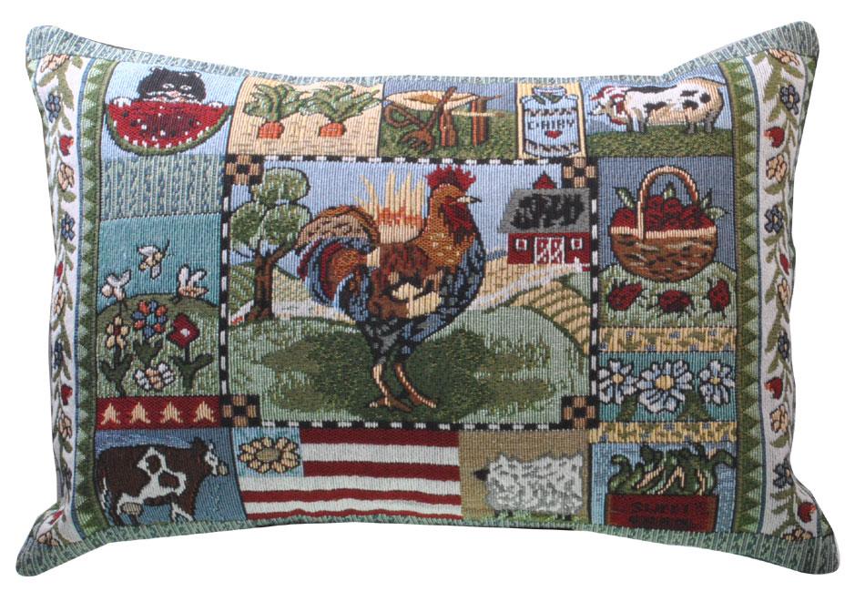 New Tapestry Throw Pillow Cushion Farmyard Cow Pig Sheep