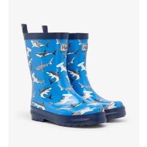 Deep Sea Sharks Shiny Kids Rainboots Gumboots By Hatley