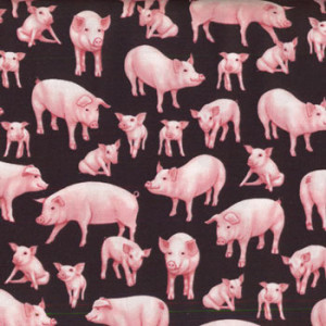 Pigs Down on The Farm Quilt Fabric