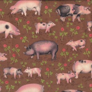 Pigs on Brown Buttercup Farm Makower Quilt Fabric