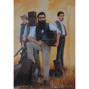 Ned Kelly Bushranger & Gang Australian Tin Sign