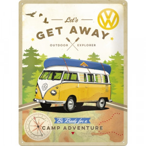 VW Kombi Campervan Lets Get Away Embossed Metal Wall Sign