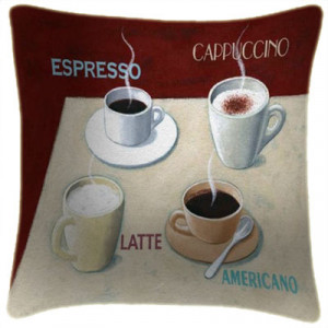 Coffee Espresso Art Print Retro Cushion Martin Wiscombe