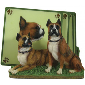 Boxer Dog Set of 4 Resin Drink Coasters