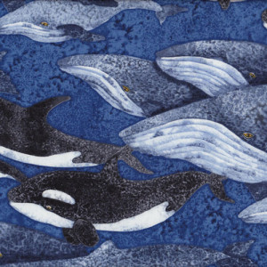 Whales Blue Ocean Quilt Fabric