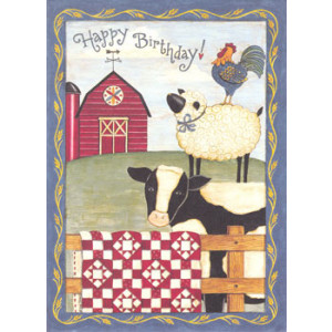 Happy Birthday Cow Sheep Rooster Greeting Card