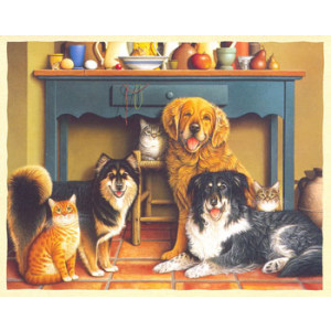 Cats and Dogs Greeting Card by Braldt Bralds
