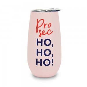 Double Walled Stainless Steel Prosec Ho Ho Ho Sparkling Flute with Lid