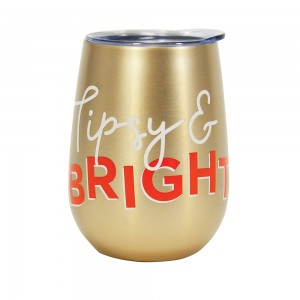 Double Walled Stainless Steel Tipsy & Bright Wine Tumbler with Lid