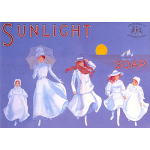 Sunlight Soap Ladies in White Postcard