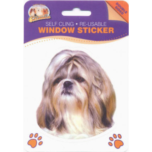 Shih Tzu Dog Self Cling Re-usable Window Sticker