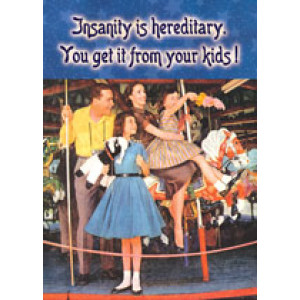 Insanity is Hereditary You Get It From Your Kids Retro Greeting Card