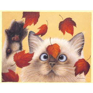 Cat and Autumn Leaves Greeting Card by Lowell Herrero