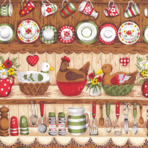 Country Kitchen Teacups Makower Border Quilt Fabric