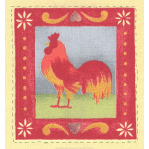 Red Rooster Fabric Panel