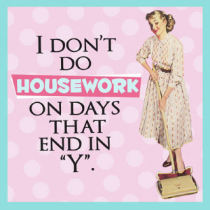 "I Don't Do Housework With Days That End in ""Y"" Retro Drink Coaster"