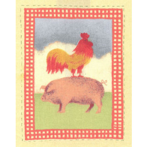 Rooster Pig Fabric Panel